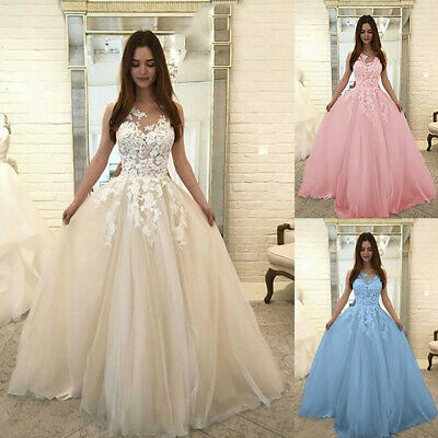 Women Fashion Floral Lace Wedding Elegant Chiffon Evening Party Dress Ball Gown