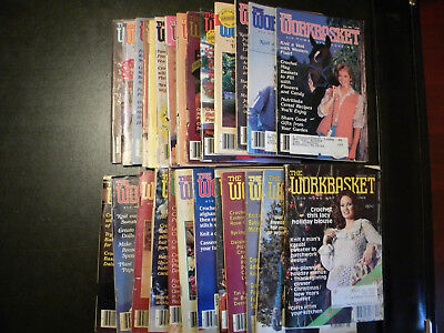 Lot of 26 Workbasket Magazine, 1979 - 1990, Vintage, Crochet, Crafts, Quilting