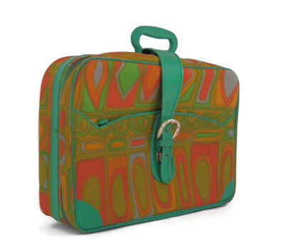 Vintage Suitcase Mod Print 60's Cloth Suitcase with Bright Green Vinyl Accents