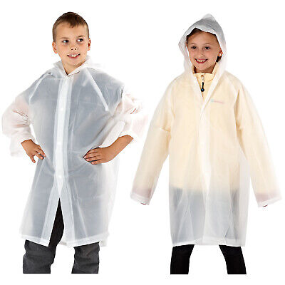 Kids Boys Girls Biodegradable Rain Jacket Hooded Junior Clear Rain Mac Outerwear