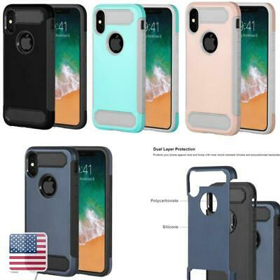 Color Silicone Hard TPU Dual Layer Hybird Case Cover for Apple iPhone X/ XS