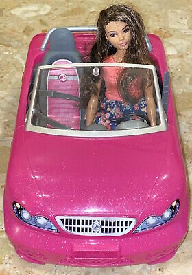 Barbie Doll Convertible Pink Car Kids Toys Girls Vehicle Fits 2 Plus 1 Doll