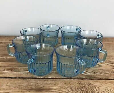 Forte Crisa Mexico Azure Blue Glass Ribbed Coffee Tea Cups Set of 8