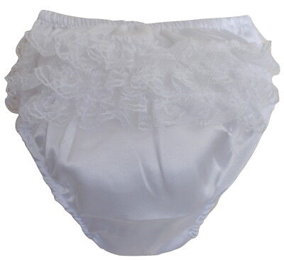Baby Girls Satin Effect Frill Back Knickers, Nappy Cover Pants (WHITE)