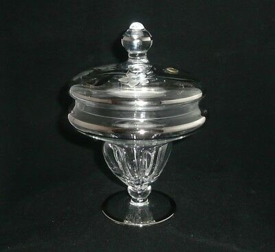 Vintage Bohemia Crystal Covered Candy Jar Dish Silver Floral 25th ANNIVERSARY
