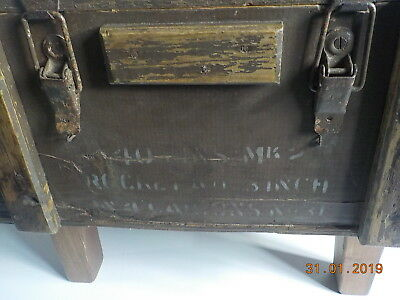 Genuine Vintage British Ammo Box made into coffee table with wooden legs