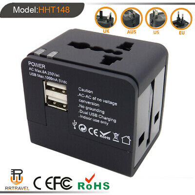 Universal World Travel Adapter Dual 2-USB Plug 2.1A Charger AC Power UK US EU AU