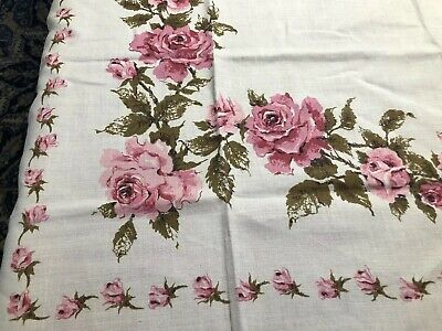 Vintage tablecloth Mid-Century Pink Roses On Linen Mint!