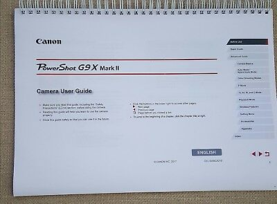 Canon Powershot (219 Pages) G9X Mark Ii Printed User Manual Guide A5