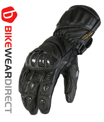 Black Leather Motorcycle Motorbike Biker Gloves CE Knuckle Armour Vented Texpeed