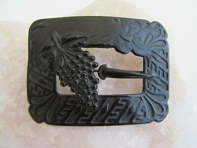 Atq Victorian Sash Pin Grapes Mourning Buckle Brooch Repousse Ebony Black Brass