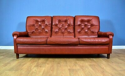 Mid Century Retro Vintage Danish Red Leather Highback 3 Seat Sofa Settee 60s 70s