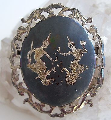 Siam Sterling Pin Black Niello 925 Silver Brooch Thai Dancers Signed Vintage