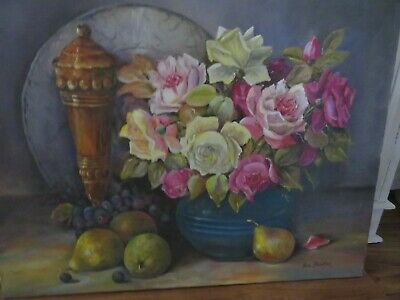 Beautiful Vintage Hand Painted Painting ROSES Oil on Canvas SIGEND Lou Parker