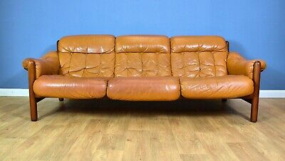 Mid Century Retro Swedish Caramel Leather Percival Lafer Style 3 Seat Sofa 1970s