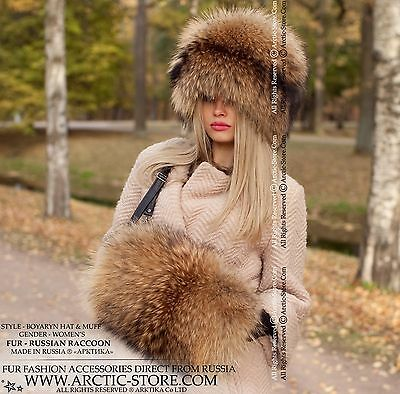 Russian raccoon Fur hat & hand-muff. Set of chapka and muff in gold brown color
