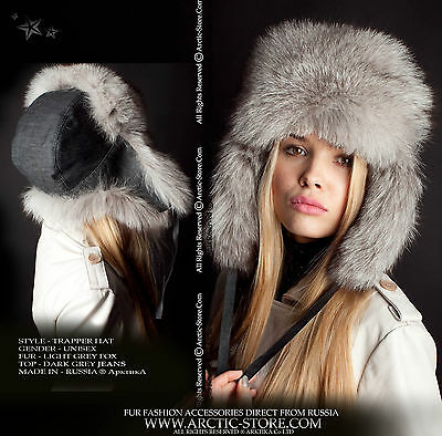e9b8036a27b71 Trapper-Hut Blau Grau Polar Fox Pelz Chapka Winter Ushanka Russisch Denim  Top