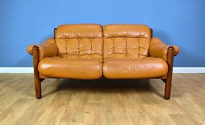 Mid Century Retro Swedish Caramel Leather Percival Lafer Style 2 Seat Sofa 1970s