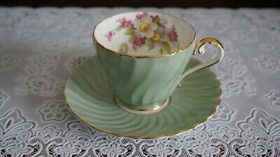 VINTAGE Aynsley Mint Green Swirled Shape Cup and Saucer Set #1532, England