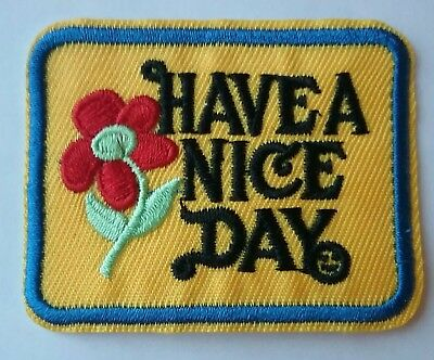 Have a Nice Day Iron-on Patch Vintage 70s Style Retro Hippie Boho Flower Cute