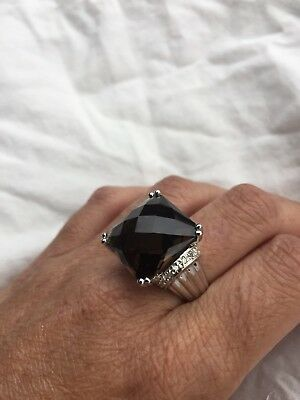 Gothic Vintage Deep Genuine Smoky Topaz Claw 925 Sterling Silver Ring