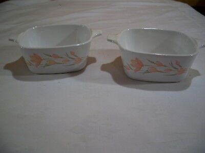 Corning Ware Peach Floral Baking Casserole Dish 2-3/4 Cups P-43-B