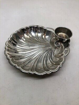 The SheffIeld Silver Co. Plated Clam Sea Shell Shrimp Cocktail Serving Tray Dish