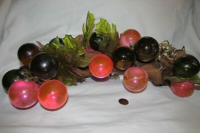 Vintage Lucite Grape Cluster on wood, Pinks, Leaves, candle holders, MC Retro