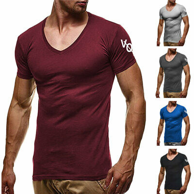 Men's Gym Tight T-Shirt t Short Sleeve Tops Slim V-Neck Casual Fitness Pullover