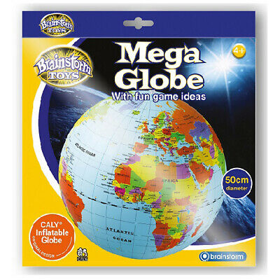 50cm Inflatable Globe Ball - Children's Blow Up Globe Beach Ball Geography Toy