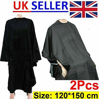 2x Large Barber Apron Hairdresser Gown Hair Salon Cutting Cape Waterproof Black