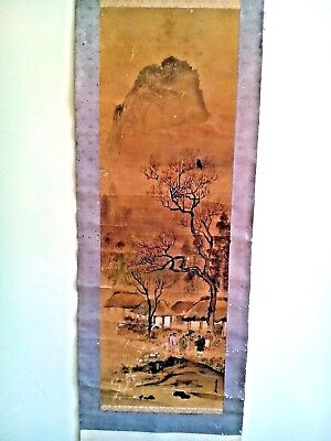 Antique Asian Chinese Or Japanese  Hand Painted Scroll Painting Signed