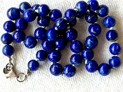 "BEAUTIFUL BLUE ANTIQUE NATURAL LAPIS LAZULI NECKLACE 17.7""L 9mm BEADS SILVER LUK"