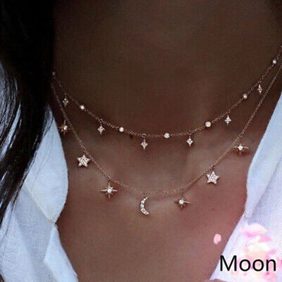 Women Necklace Stars Moon Pendant Choker Double-layer Charm Chain Gifts