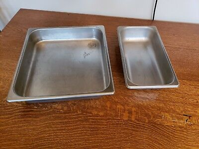 Vintage Stainless Steel Pans Restaurant Prep Table Refrigerator Containers Lot 2