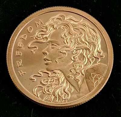 """/""""Freedom Girl/"""" Double ObverseCopper Round 1 oz .999 Very Limited and Rare"""