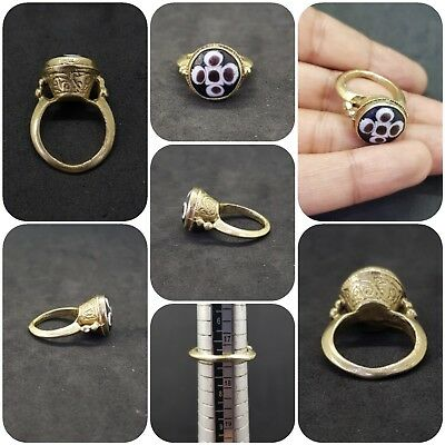 A wonderful and unique gold gilded old ring with Eye Gabree Lovely # AE3
