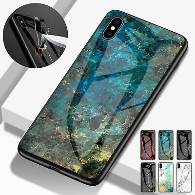 For iPhone 6s 7 8 Plus Soft TPU Marble Tempered Glass Protective Slim Case Cover