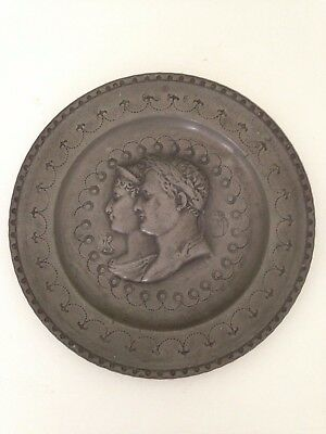 Antique Hammered/Repousse Pewter Plate JULIUS CAESAR / NAPOLEON with 4 Hallmarks