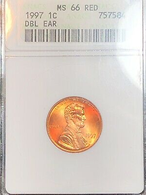 1997 ANACS  MS66RD FS-101 1C Doubled Die Obverse Double Ear Lincoln Cent