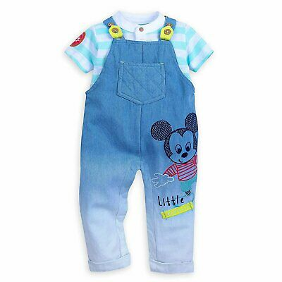 DISNEY STORE MICKEY MOUSE DUNGAREE SET FOR BABY DENIM BIBS /&  LS BODYSUIT NWT