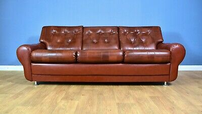 Mid Century Retro Danish Cognac Brown Faux Leather 3 Seat Sofa Settee 1960s 70s