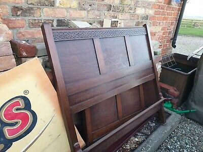 Antique Vintage 1930s/1940s 4ft Double Bedstead, wooden frame.