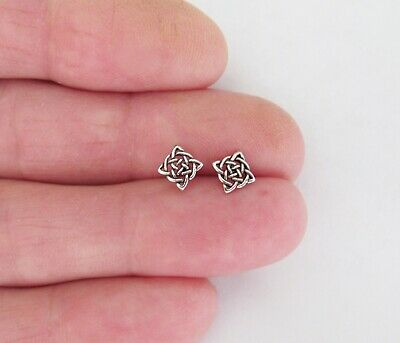 Sterling Silver 5mm dainty square Celtic knot post stud earrings.