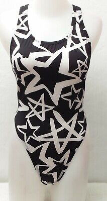 New Black & White Star Pattern Sportsback Thong Leotard for Women size S - M