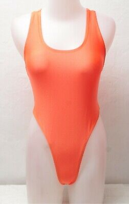 New Shiny Orange Y-Back Thong Leotard for Women size 10 Small - 12 Medium