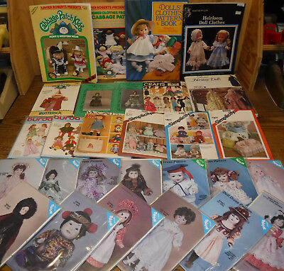 28 vintage assorted Lot DOLL CLOTHES PATTERNS all Uncut FF Fashion Baby Toddler