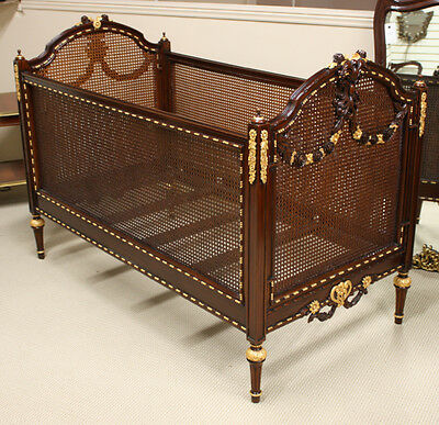 Louis XVI small child's bed crib carved mahogany with full gilt gold accents