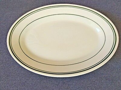 """Vintage Homer Laughlin Best China Oval 8 1/4"""" Small Plate Green Trim USA"""