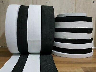 Flat Woven Elastic Black/White For Waistbands Cuffs Sewing Dressmaking Tailoring